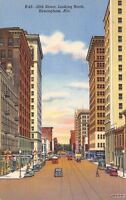 Birmingham Alabama~20th Street High Rise Bldgs~Hotel~Shops~1942 Linen Postcard