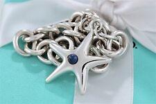 "Tiffany & Co. RARE Silver Lapis Bead Starfish Charm 7.5"" Bracelet w/Packaging"