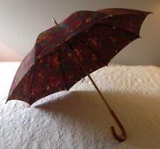 Vintage 1978 Ralph Lauren Autunm Tapestry Floral Maroon Wooden Rain Umbrella