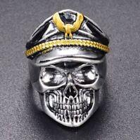 Bague chevaliere motif tete de mort Officier armée homme Mode Bijoux Modèle 37