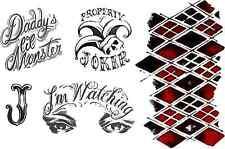 Harley Quinn escuadrón de suicidio vestido elegante conjunto de tatuaje temporal