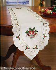 Christmas Decor Holly & Ornaments Linen Table Runner Scalloped Edges Holiday NEW