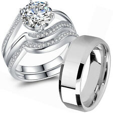 925 Sterling Silver Men's Stainless Steel Couple Wedding Ring Sets His and Hers