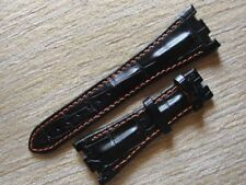 Black Horn Back Leather Strap Band Orange Stich 28mm/29mm For AP ROO 42mm Watch