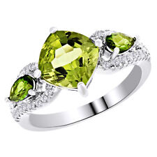 White Gold Over Sterling Silver 925 Peridot Three Stone Wedding Ring 14K