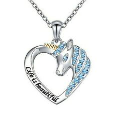 """Aquamarine Unicorn & Heart Life is Beautiful .925 Sterling Silver Necklace 18"""""""