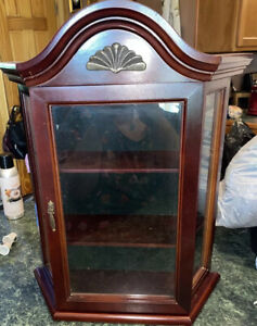 Small 2 Shelf Table Top or Hanging Wood Curio Cabinet w/ Glass Door Velvet