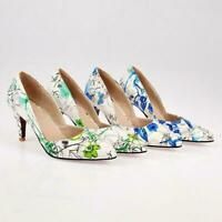 Womens Pointy Toe Flower Slip On Pumps Stiletto Heels Floral Shoes Plus Size new