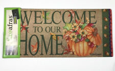 Pumpkin Bucket Sassafras Insert Switch Door Mat 10x22 Autumn Fall Leaves #431098