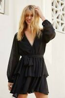 Friend Of Audrey Wrap Top Tiered Skirt Sheer Black Ines Dress Size 8 (Fits 8-10)