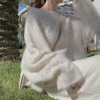 Womens Mohair Hollow Out Round Neck Knitted Sweater Loose Bat Sleeves Blouse NEW