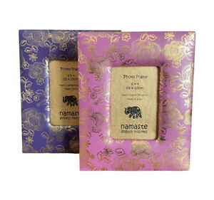 Namaste Faux Leather Photoframe Embossed Gold Design Pink or Purple  6x4in Photo