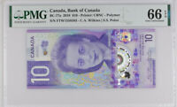 CANADA 10 DOLLARS ND 2018 P NEW POLYMER GEM UNC PMG 66 EPQ NEW LABEL