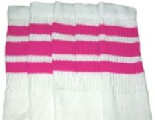 "22"" KNEE HIGH WHITE tube socks with HOT PINK stripes style 1 (22-100)"