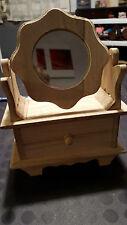 Coiffeuse avec tiroir et miroir rond forme fleur en bois brut -Loisirs Créatifs