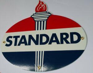 Standard Amoco Gas Oil Gasoline Porcelain Sign