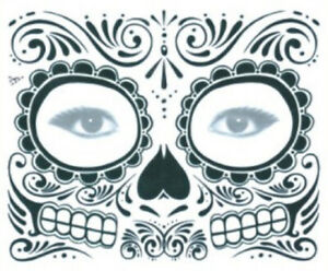 Gesicht tattoo temporary face temporär Body Art Fasching Halloween Skull Fun 11