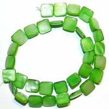 """MPX1087L 10-Strands Bright Green 12mm Flat Square Mother of Pearl Shell Bead 16"""""""