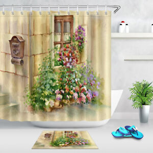 Shower Curtain Liner Polyester Waterproof Fabric Letter Box Flowers Window 72""