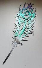 "METAL WALL ART Peacock Feather Colorful Teal & Fuchsia 14"" x 4 1/2"""