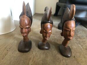 Vintage Wood Carved African Statue Figure Woman Tribal Warrior Set 3