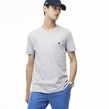 Lacoste V Neck Basic T Shirt Silver White Mens 4XL New