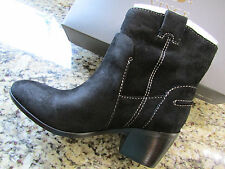 NEW VINCE CAMUTO MAVES BLACK LEATHER MID WESTERN BOOTS WOMENS 8 FREE SHIP