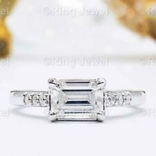 Certified 1.12 Ct Emerald Cut Diamond Solitaire Engagement Ring 14K White Gold