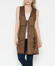WOMENS WESTERN Tirbal Print VINTAGE NATIVE AMERICAN look BROWN Suede VEST XL