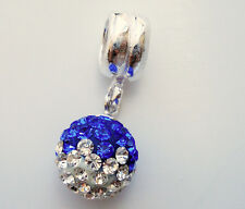 EUROPEAN 925 SILVER BLUE CRYSTAL SEPTEMBER BIRTHSTONE DANGLE BEAD f/Bracelet