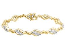 Ladies 10K Yellow Gold Genuine Diamonds Designer Bracelet 0.65ct 7.5 In