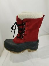 Lands' End Red Suede Laced Insulated Winter Snow Duck Boots Boy's Size 13