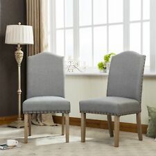 Mod Urban Style Solid Wood Nailhead Grey Fabric Padded Parson Chair, Set of 2