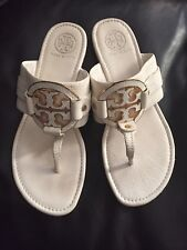 Tory Burch Amanda White/Gold Leather T Logo Thong Flip Flop Sandals  Size 9