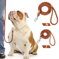 """48"""" Brwon Leather Dog Leash for Small Dogs Soft  Braided Puppy Walking Leads"""