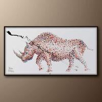 "Painting Rhino 67"" Animal oil on Canvas, thick layers, original & handmade"