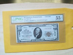 1929 $10 THE FIRST NATIONAL BANK & TRUST COMPANY IN WYANESBORO,PA PMG 55 EPQ