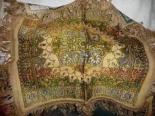 """#1115M vtg doily Asian design woven tapesty made Italy Art Deco 22"""" S w fringe"""