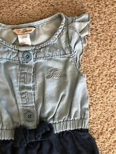Guess Baby Girl 12M Soft Denim Cap Sleeve Romper EUC