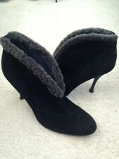 Stuart Weitzman Black Suede Ankle Boots with Faux Fur Trim Booties, 10M