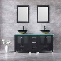 """60"""" Double Bathroom Glass Vanity Cabinet Sink with Faucet Top Basin w/Mirror New"""
