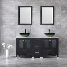 "60"" Double Bathroom Glass Vanity Cabinet Sink with Faucet Top Basin w/Mirror New"