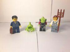 Alien Conquest Lego Minifigures: Farmer, Businessman, Alien, Brain~W Accessories