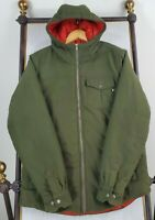 MARMOT Size Medium Mens Olive Drab Flannel Hooded Poly Insulated Coat Jacket