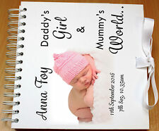 Personalised Scrapbook, Memory Book, Photo Album, New Born Baby,White satin Bow