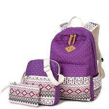 New 3pcs/Set Backpack Women Canvas Travel Bookbags School Bags for Teenage girls