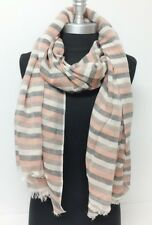 New Soft 100% Cotton Long Scarf Wrap Shawl Tassel Striped Peach/Beige/Black