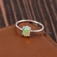 Natural Ethiopian Opal Solid 925 Sterling Silver Handmade Ring Size - 6.5 R-540