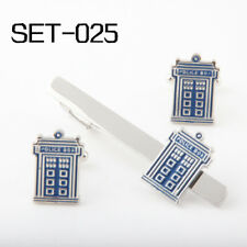 DOCTOR WHO TARDIS BOX SILVER TONE DELUXE TIE CLIP AND CUFF LINK SET #025