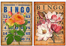 Floral Bingo #4 - Set of TWO 5x7 Flower Collage Fabric Blocks - BUY 2, GET 1